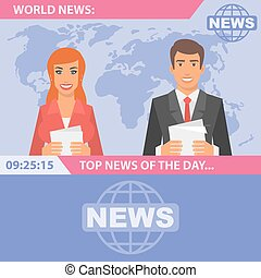 Reporters and world news - Vector Illustration, Reporters...