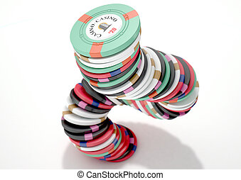 Casino Chips - A falling stack of various values of casino...