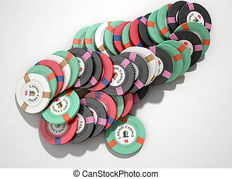 Casino Chips - A fallen stack of various values of casino...