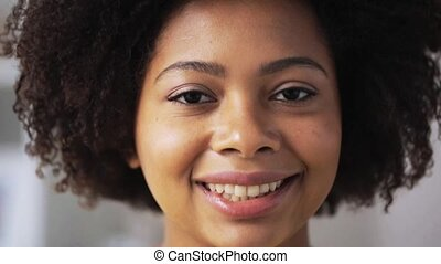 happy african american young woman face - people, race,...