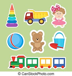 Set of stickers for decoration of children s rooms. Vector, illustration in flat style isolated on green background EPS10.