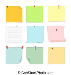 Set of detachable stickers paper notes. Vector, illustration in flat style isolated on white background EPS10.