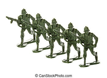 Toy Soldiers Isolated - Isolated image of toy soldiers