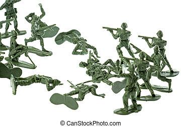 juguete, soldados, aislado
