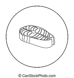 Steak icon in outline style isolated on white background. Sushi symbol stock vector illustration.