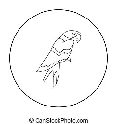 Pirate's parrot icon in outline style isolated on white...