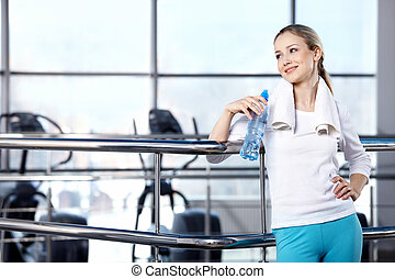 Portrait of the girl in fitness club - Portrait of the girl...