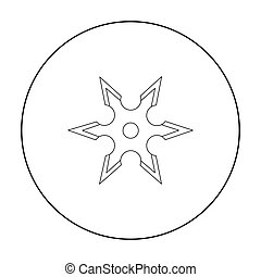 Metal shuriken icon outline. Single weapon icon from the big...
