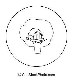 Tree house icon in outline style isolated on white...