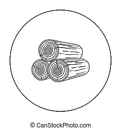 Stack of logs icon in outline style isolated on white...