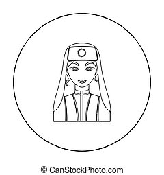 Turkish woman icon in outline style isolated on white background. Turkey symbol stock vector illustration.