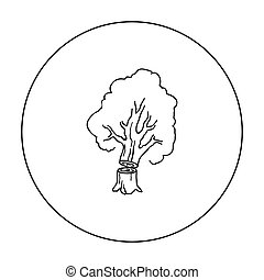 Falling tree icon in outline style isolated on white...