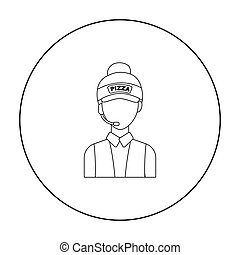Saleswoman icon in outline style isolated on white...