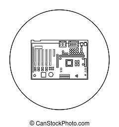 Motherboard icon in outline style isolated on white...