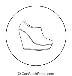 Wedge booties icon in outline style isolated on white...