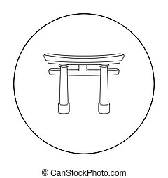 Torii icon in outline style isolated on white background....