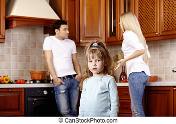 Quarrel of parents - The little girl against quarrel of...