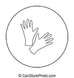 Black protective rubber gloves icon outline. Single tattoo...