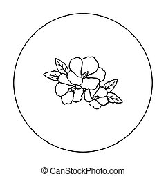 Rose of sharon icon in outline style isolated on white...