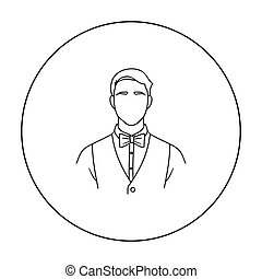 Restaurant waiter with a bow tie icon in outline style isolated on white background. Restaurant symbol stock vector illustration.