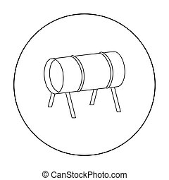 Playground tunnel icon in outline style isolated on white...