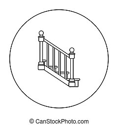 Stairs icon in outline style isolated on white background....
