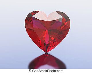 3D illustration red diamond heart on a blue background
