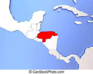 Honduras in red on map - Map of Honduras highlighted in red...