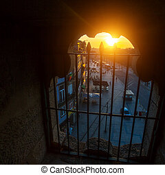 Street view from the window of Clerigos tower, Porto,...