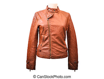 Isolated leather jacket - Bright leather jacket from a...