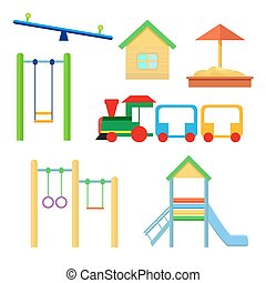 Set of objects to be placed on the playground. Slides and...