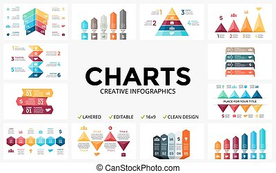 Vector arrows infographic, diagram chart, graph presentation. Business report with 3, 4, 5, 6, 7, 8 options, parts, steps, processes. Triangles, pyramid, timeline. Growth success concept.