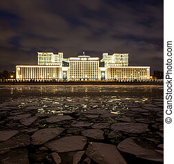 Russian Ministry of Defense in the evening in winter on a...