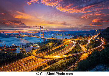 Tsing ma bridge link between airport and Hong kong city,...