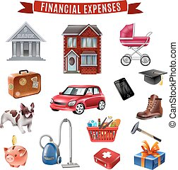 Family Expenses Flat Icons Collection - Average family...
