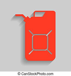 Jerrycan oil sign. Jerry can oil sign. Vector. Red icon with...
