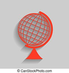 Earth Globe sign. Vector. Red icon with soft shadow on gray...