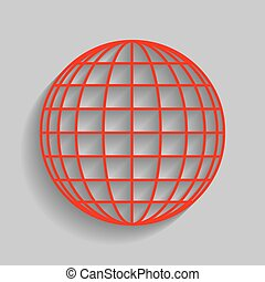 Earth Globe sign. Vector. Red icon with soft shadow on gray background.
