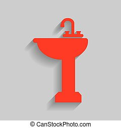Bathroom sink sign. Vector. Red icon with soft shadow on...