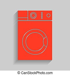 Washing machine sign. Vector. Red icon with soft shadow on...
