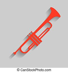 Musical instrument Trumpet sign. Vector. Red icon with soft...