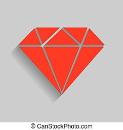 Diamond sign illustration. Vector. Red icon with soft shadow...