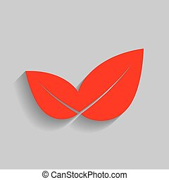 Leaf sign illustration. Vector. Red icon with soft shadow on gray background.
