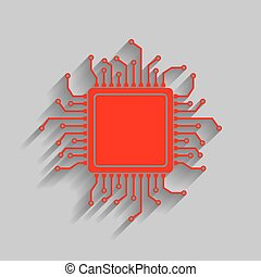 CPU Microprocessor illustration. Vector. Red icon with soft...