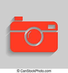 Digital photo camera sign. Vector. Red icon with soft shadow...