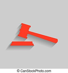 Justice hammer sign. Vector. Red icon with soft shadow on gray background.