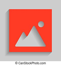 Image sign illustration. Vector. Red icon with soft shadow on gray background.