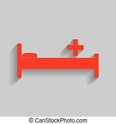 Hospital sign illustration. Vector. Red icon with soft...