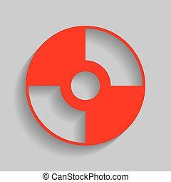 Vector CD or DVD sign. Vector. Red icon with soft shadow on...
