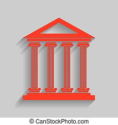Historical building illustration. Vector. Red icon with soft shadow on gray background.